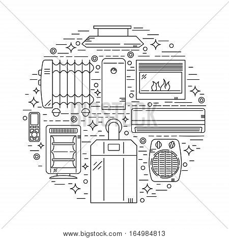 Unique Circle House Heating Vector Illustration with different heater devices made in trendy linear style.