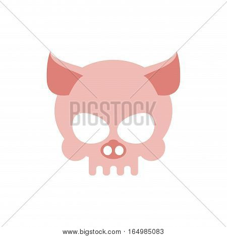 Pig Skull Isolated. Pink Swine Skeleton Head