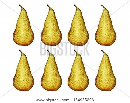 Set of appetizing sweet pear isolated on white background.