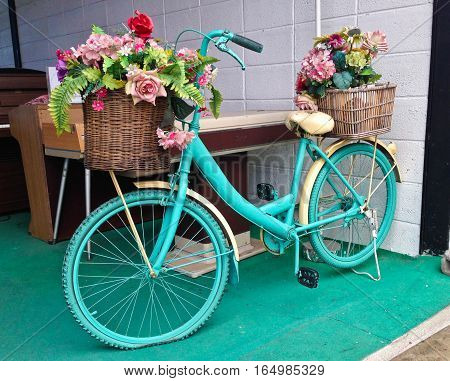 Watercolor Turquoise Bicycle With Beautiful Flower Basket