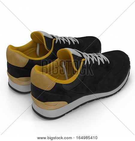 Unbranded modern sneakers isolated on a white background. Rear view. 3D illustration
