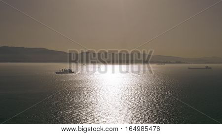 Ships in the Strait of Gibraltar between Africa and Europe