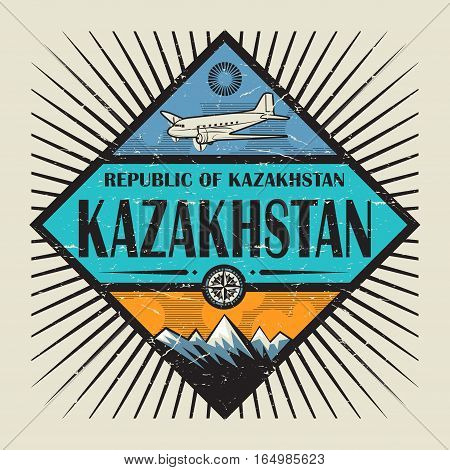 Stamp or vintage emblem with airplane compass mountains and text Kazakhstan vector illustration
