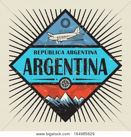 Stamp or vintage emblem with airplane compass mountains and text Argentina vector illustration