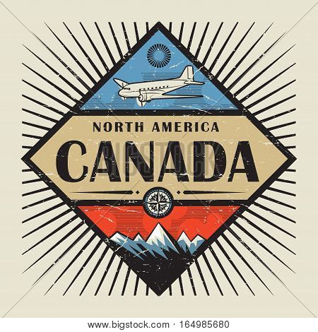 Stamp or vintage emblem with airplane compass mountains and text Canada vector illustration
