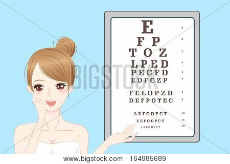 cartoon woman do vision checks with eye chart