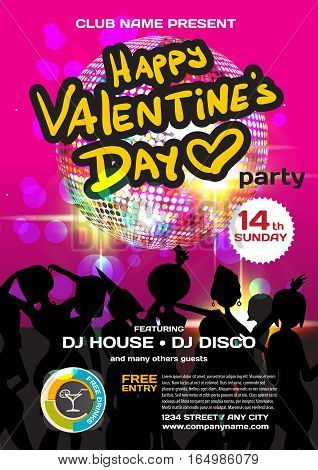 Vector valentine's day party invitation disco style. Night club women disco ball template posters or flyers.