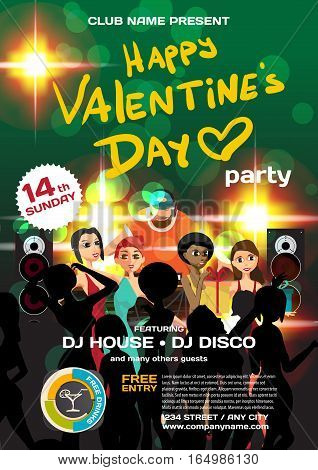Vector valentine's day party invitation disco style. Night club dj women disco ball template posters or flyers.