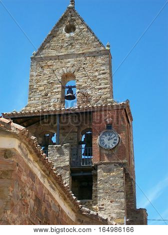 Close-up photography of a church bell tower with bells in Europe