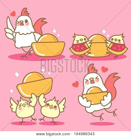 cartoon chicken with gold ingot for chinese new year
