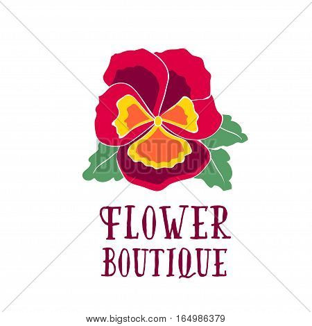 Bright logo for a flower shop. Bright bouquet with pansy, heartsease for a wedding shop, floral boutique, beauty salon