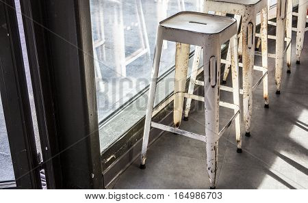 brass bar stools in vintage caffe. Nice Hotel Lounge