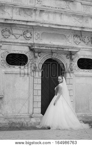 Dreams came true today. Full length soft focus monochrome shot of a beautiful young bride posing near the entrance to an old house.Old picture noise effect