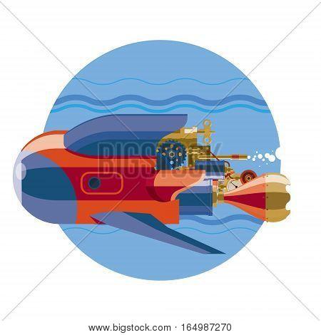 Submarine. Steam-punk retro future submarine underwater flat illustration