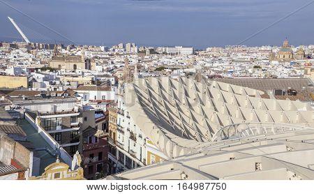 Roof footbridge for pedestrians at Metropol Parasol building Seville Spain