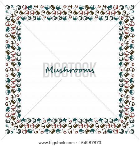 Many small Mushrooms doodle border. Botany Vector vintage sketchy illustration. Square frame. Raw food. Boletus, chanterelle, agaric and russala