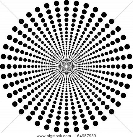 Circles depth effect, the rays of circles halftone vector template for background