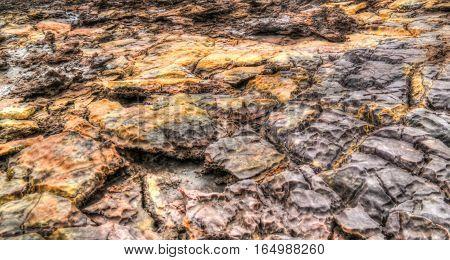 Salt texture inside Dallol volcanic crater in Danakil depression Afar Ethiopia