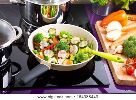 Pan Of Chopped Vegetables
