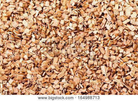 close up of brown wood chips as background