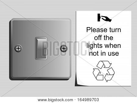 Monochrome light switch with save energy sticker portraying conservation message