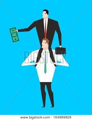 Business Motivation. Boss Sitting On Shoulders Of Manager. Dollar Ni Hand. Businessman Motivates