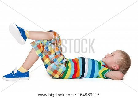 Blond Little Boy Resting