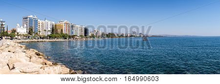 Limassol, Cyprus - 26 October, 2015: Limassol Seafront As Seen From Promenade (molos)