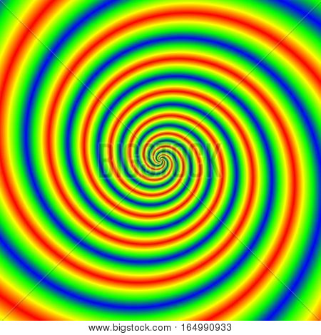 Abstract Illustration Of Bright Colorful Spirals Rotating On White