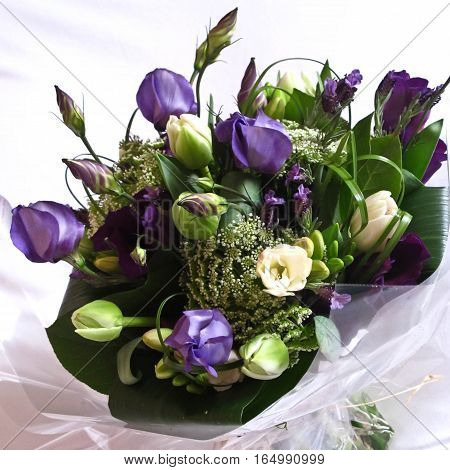A bunch of purple and white flower