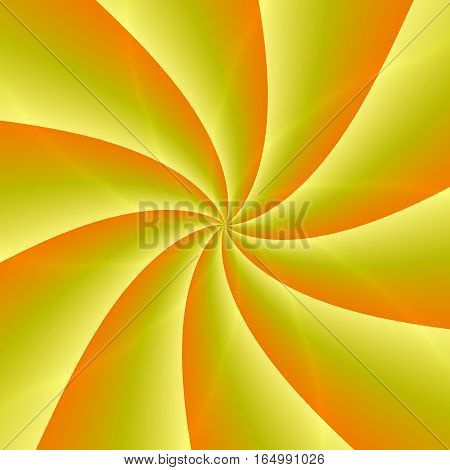 Golden Rays. Abstract Illustration Of Bright Yellow Orange Spirals