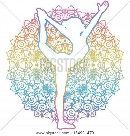 Mandala round background. Women silhouette. Lord of the dance yoga pose. Natarajasana Vector illustration