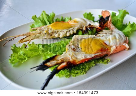 Grilled shrimp with shrimp eggs in the head  , Asian style food , Thailand