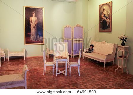 Gatchina, Russia - 3 December, Queen's Cabinet in the Gatchina Palace, 3 December, 2016. Visit the Museum Reserve Gatchina Palace.
