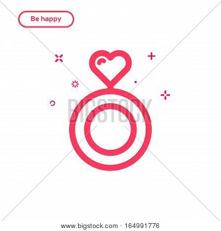 Vector illustration of icon concept be happy in love. Flat bold line style. Valentines day graphic design pink ring with heart . Outline object.