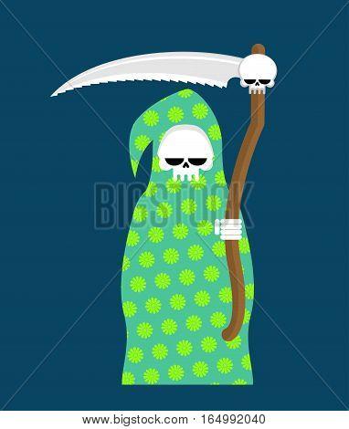 Death In Pajamas. Grim Reaper In Color Hood. Cloak Flowers Pattern