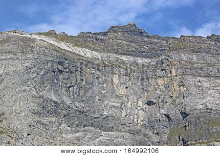 Rock cliff face in the French Alps