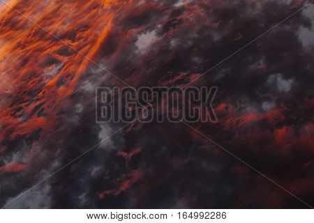 Colorful Heavenly Orange Warm Clouds On Sky At Sunset