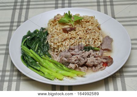 Instant Yakisoba Noodle Topped Kale Soup With Pork.