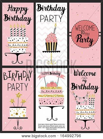 Happy Birthday Party cards set with cake, cupcake, topper, candles and lettering text.
