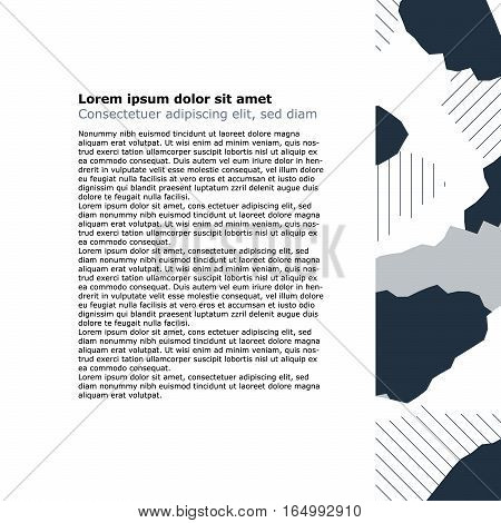 Page template with side bar background, minimalistic decoration, vector flat design