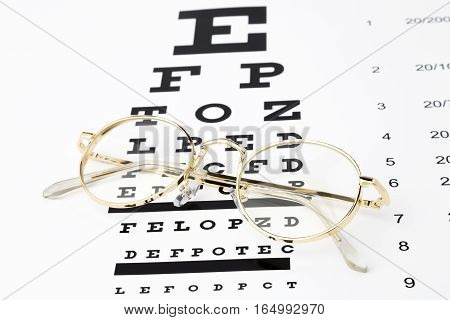 Gold Glasses with an eye chart snellen.