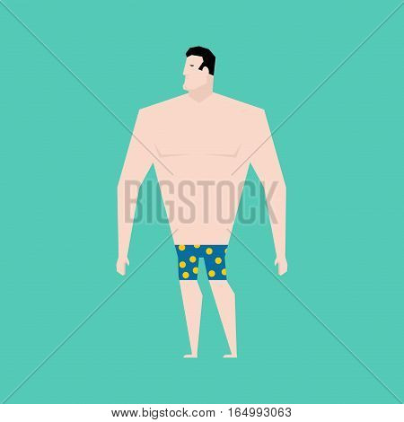 Naked Businessman With Tie. Business Bankrupt Isolated. Bankruptcy Illustration
