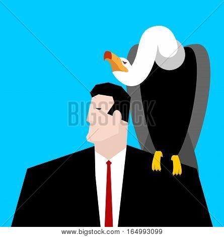 Vulture And Businessman. Neophron Sitting On Man Shoulder