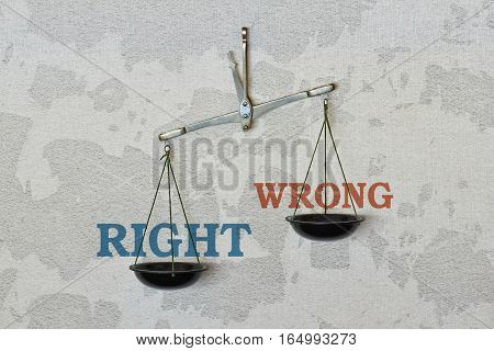 Words Right and Wrong and a balance on bright background