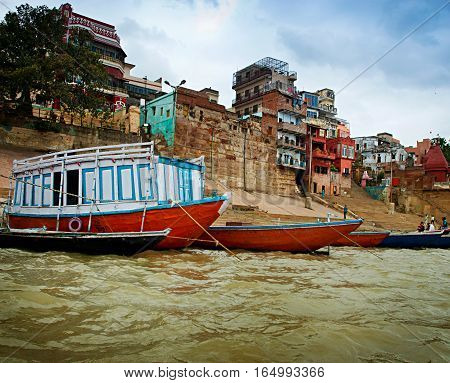On the river Ganges in Varanasi. India