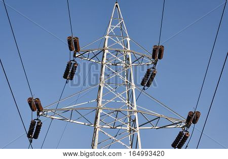 Closeup of steel electric pylon and clear sky