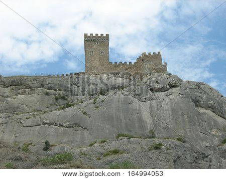 Crimea. Sudak. Ancient Genoese fortress on a high rock.