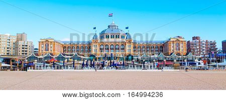 Scheveningen, Netherlands - April 7, 2016: Famous Grand Hotel Amrath Kurhaus View at Scheveningen beach near Hague, Holland, Netherlands