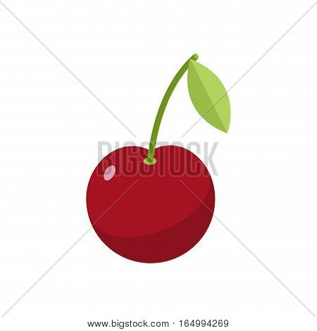 Cherries Isolated. Cherry On White Background. Red Berry With Green Leaf